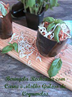 Berinjela Recheada com Carne e Molho Guloso de Cogumelos