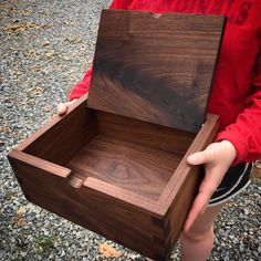 Anniversary gift of an engraved walnut heirloom box, so thoughtful! Plywood Boxes, Small Wooden Boxes, Wood Shop Projects, Photo Boxes, Wooden Art, Diy Box, Keepsake Boxes, Anniversary Gifts, Woodworking Projects