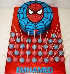Emhamed's spiderman-Cake and cakepops - _e.e_ - Emhamed's spiderman-Cake and cakepops – _e. Spiderman Torte, Spiderman Birthday Cake, Superhero Cake, Superhero Birthday Party, 4th Birthday Parties, Spider Man Party, Fête Spider Man, Spider Man Cakes, Holi Party