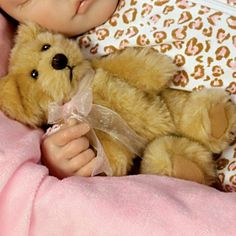 Baby Dolls and Child Dolls - carosta.com - Sweet Dreams Ellie Lifelike Doll With Plush Teddy-Bear - detail 2