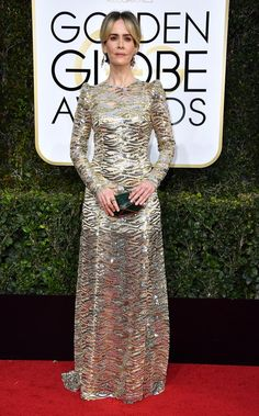 Golden Globes The Best Red Carpet Looks via Sarah Paulson WEAR: Marc Jacobs gold lace embellished long sleeve open-back gown with rolling waves of sparkling gold and silver sequins. Red Carpet Ready, Red Carpet Looks, Natalie Portman, Golden Globe Award, Golden Globes, All Star, Marc Jacobs, Vogue Mexico, Converse