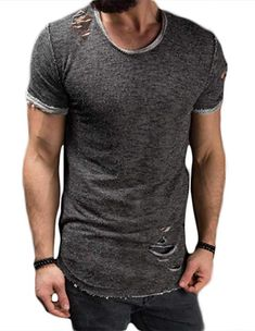 Men Summer Ripped Tee Shirt Slim Fit Short Sleeve Muscle Casual T-Shirt Jersey size XXL (Grey) Casual T Shirts, Men Casual, Men Summer, Tee Shirt, Muscle, Slim, Tees, Sleeve, Mens Tops