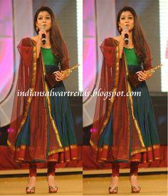 Latest Salwar and Designer Dresses: Nayanthara in multi colour cotton anarkali suit