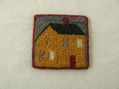 Hooked mug rug / coaster mustard house by excitablegirl on Etsy, $12.95