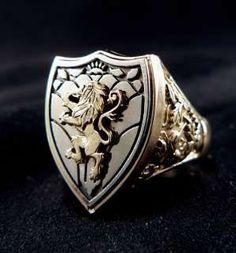 ANTIQUE ROYAL LION ~KNIGHT~ CREST 14K GOLD MENS RING