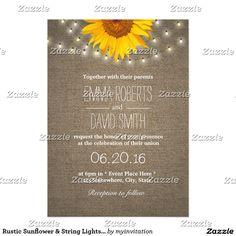 Rustic Sunflower & String Lights Burlap Wedding