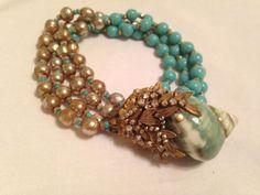 Beautiful-Miriam-Haskell-Blue-Bead-W-Rhinestones-Neclace-Bracelet-Earrings-Set