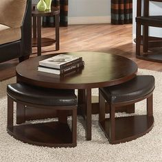 Homelegance 3292-01 Brussel II Round Cocktail Table with Four Ottomans