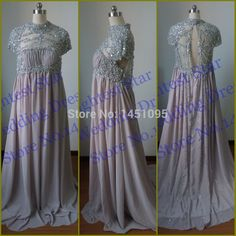 Luxury Heavy Beads Rhinestones A Line evening dress for pregnant women high neck prom dresses 2015 Real Photos Silver Party Gown