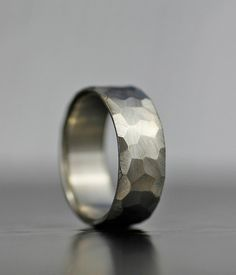 modern faceted wedding band unique men's or women's by lolide