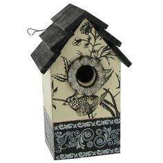 Wood Birdhouse with Bird Stenciling