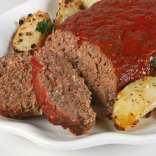 Classic Meatloaf-1 lb hamburger; 1 (10 1/4 oz.) can vegetable soup; 1-2 tbsp. ketchup; 1 tsp. poultry seasoning; 1 tsp. Italian seasoning; 1 tsp. milk  1 1/2 cups oatmeal--Preheat oven to 350 degrees. Combine all ingredients in a bowl and mix well. Form into a loaf and place in baking pan. Bake for 1 hour.