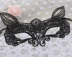 Beautiful Crown Mask Black Lace Mask Masquerade by lacelindsay