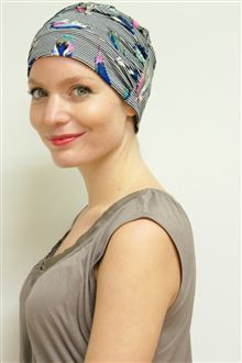 Happy Monday everyone, and here's to Kimmy - one of our most popular, practical-but-oh-so-stylish designs, a jersey turban that will take you anywhere but also can be worn under warmer/wool hats to prevent the 'itch' factor! But did you know it comes in FAB prints, too, not only plain shades? #headwear #hats #turbans #chemo #alopecia #hairloss #chemotherapy #fashionable #style
