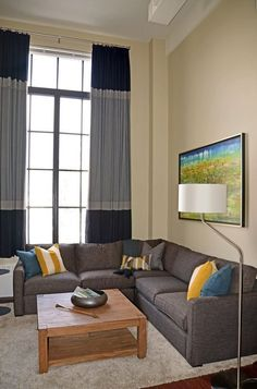TALL colorblocked curtains in a living room