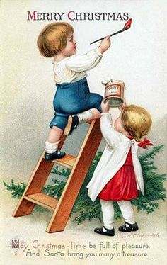 Vintage Christmas image: Children painting