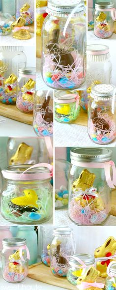 Spring DIY Home Decor ideas Easter Bunny Mason Jars- SWEET HAUTE Pin now...make later!