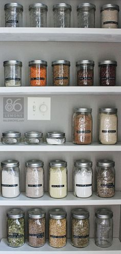 Open Pantry Shelves and Canning Jars  86lemons.com