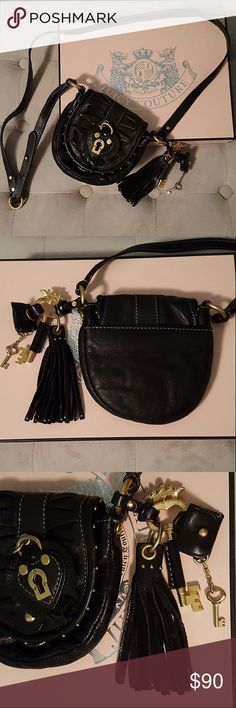 "🆕Juicy Couture Atlantic Leather Crossbody NWOT Authentic Juicy Couture Atlantic Leather Frame Cross-body Bag. Attached tassels and matching bag charm. Genuine Black Leather. Adjustable Crossbody Strap. Flap top with magnetic snap closure. Gold tone hardware. Interior is lined with signature fabric. Interior has 3 card slots. Back of bag has an exterior slip pocket.  🆕 Condition! Strap drop 22"" (adjustable). 6"" x 6"" x 1"" Juicy Couture Bags Crossbody Bags"
