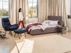 Micasa Schlafzimmer mit Bett DUMONT, schlamm (auch in anderen Farben erhältlich) und Sessel ANDRES Floor Chair, Flooring, Furniture, Home Decor, Bedroom, Fashion Styles, Bed Ideas, Armchair, House