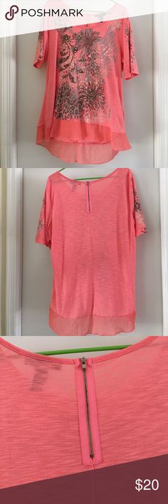 NWOT coral blouse with bling. Wore this pretty blouse with bling only once. I lost weight so it's to big for me. Summer blouse Coral color. Goes great with denim or white or beige pants/ crops. Style & Co Skirts High Low