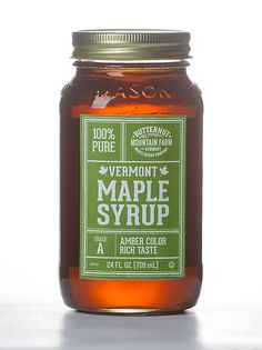 Vermont Maple Syrup in a 24 Oz Mason Jar - Butternut Mountain Farms Maple Syrup Bottles, Maple Syrup Grades, Maple Bars, The Pancake House, Pots, Pure Maple Syrup, Jar Labels, Food Packaging, Vermont