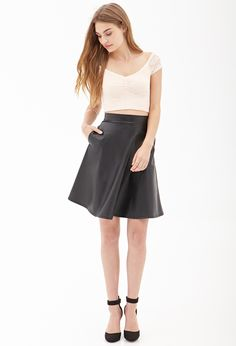 Faux Leather A-Line Skirt #SummerForever