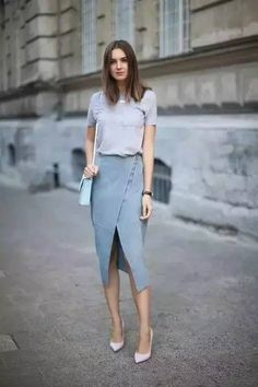 Fashion Styles: Gray Tshirt & Slit Skirt