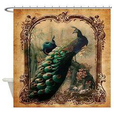 CafePress - Romantic Paris Vintage Peacock - Decorative Fabric Shower Curtain