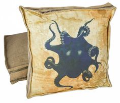 Nautical Beach Decor Blue Octopus Theme - Vintage French Style Box Pillow Burlap and Cotton with Down Insert on Etsy, $85.00