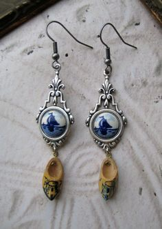 Dutch Delft blue earrings...notice the tiny klompen hanging from the silver setting!