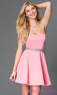 Pink Fit and Flare Sweetheart Prom Dress at PromGirl.com