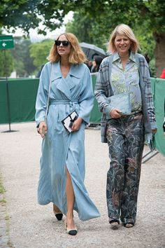 Fashion Stylist Elisa Nalin with Fashion blogger Candela Novembre who wears a Blumarine dress Chanel shoes and Céline bag on day 1 of Paris Haute...