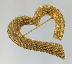 Vintage Freeform Abstract Valentine Heart Brooch by RhinestoneByrd #ecochic #vintage #jewelry