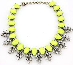 New Design Lady Bib Statement Gorgeous Neon yellow Crystal necklace collar Hot #new #Bib