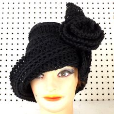 Womens Crochet Hat Womens Hat Trendy Crochet Flower Black Hat OMBRETTA Cloche Hat with Flower Crochet Hat Formal Hat  by strawberrycouture by #strawberrycouture on #Etsy