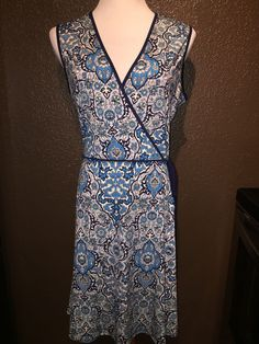 Max Studio Navy Blue Turquoise White Dress Medium | eBay
