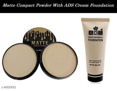 Makeup Combo Kiss Beauty Matte  Compact Powder 2 in 1 With ADS White Invisble Foundation   Product Name: Kiss Beauty Matte  Compact Powder 2 in 1 With ADS White Invisble Foundation  Brand Name: ADS & Kiss Beauty Product Type: Foundation & Compact Powder Capacity: Foundation- 60 ml & Compact Powder- 20 gm Package Contains: It Has 1 Pack of Foundation & 1 Pack of  Compact Powder Sizes Available: Free Size *Proof of Safe Delivery! Click to know on Safety Standards of Delivery Partners- https://ltl.sh/y_nZrAV3  Catalog Rating: ★4 (1403)  Catalog Name: Free Gift Make Up Ads / Kiss Beauty/Yanqina Face Makeup Foundation/Compact Powder/Kajal/Eyeliner Vol 2 CatalogID_700389 C51-SC1540 Code: 291-4805433-
