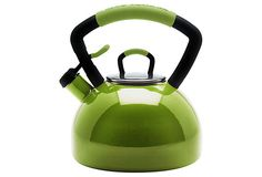 Fun tea kettle!  I love color in my kitchen....and my favorite color is green.