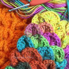 Preparando nuevos tutoriales de tejido... el punto cocodrilo queda lindo tejido a crochet con lana matizada!