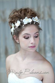 Orchids+Wedding+Hair+Garland.+Headband+Hair+piece+by+Rubybloomscom,+$60.00  SO GORGEOUS!