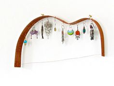 Earrings rack  Mahogany guitar shaped  upcycled by theYarnKitchen, $37.00