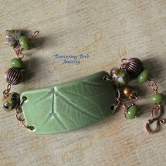 Beaded Cuff Bracelet with Ceramic Pottery Leaf and Lampwork Glass Beads, Brown Green Woodland Fall Jewelry