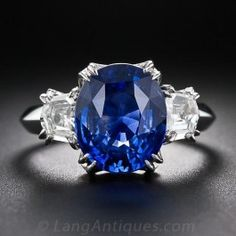 5.16 Carat Oval Sapphire and Diamond Vintage Ring