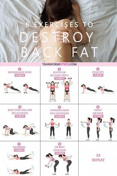 Get rid of your lower back fat. 8 exercises to get rid of lower back fat for women. This exercise group helps to work out your back whilst giving your abs a tough time. This hits your whole back, making them great exercises to get rid of lower back fat! Fitness Workouts, Pilates Workout, Workout Exercises, Waist Slimming Exercises, Back Workouts For Women, Lower Back Fat Exercises, Ab Exercises For Women, Back Fat Exercises At Home, Bra Fat Workout
