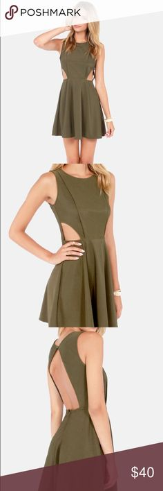 Lulu's green open back skater dress ✨ New with tag! Single button closure. Beautiful green olive color. Size medium. Lulu's Dresses Mini