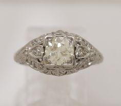 Diamond & Platinum Antique Engagement Ring