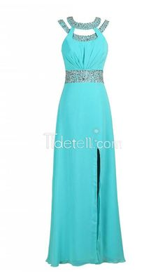Buy this Charming Beaded Bridesmaid Evening Party Prom Chiffon Gown Dress for $189.99 only in Tidetell.com