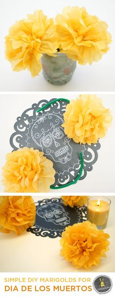 How to make easy marigold flowers for Dia de los Muertos (Day of the Dead)   TinkerLab.com