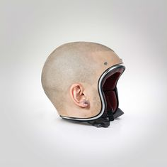 Creepy Helmets That Look Like Human Heads Suggest Flesh Is In -  #bikes #creepy #design #helmets